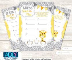 Neutral Giraffe Dirty Diaper Game or Guess Sweet Mess Game for a Baby Shower Grey Yellow, Safari