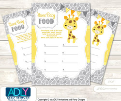 Neutral Giraffe Guess Baby Food Game or Name That Baby Food Game for a Baby Shower, Grey Yellow Safari