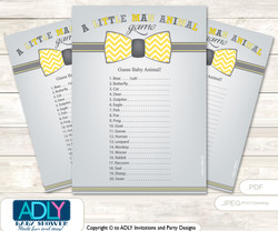 Printable Little Man Bow Tie Baby Animal Game, Guess Names of Baby Animals Printable for Baby Bow Tie Shower, Yellow Grey, Chevron