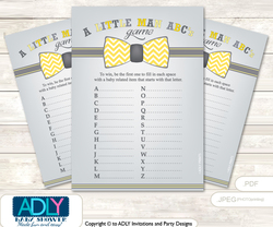 Little Man Bow Tie Baby ABC's Game, guess Animals Printable Card for Baby Bow Tie Shower DIY –Chevron