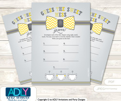 Little Man Bow Tie Dirty Diaper Game or Guess Sweet Mess Game for a Baby Shower Yellow Grey, Chevron