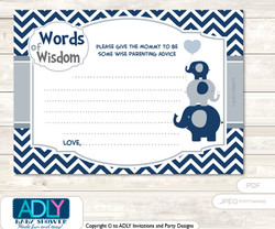 Boy Peanut Thank you Printable Card with Name Personalization for Baby Shower or Birthday Party  Blue Grey Boy Peanut Words of Wisdom or an Advice Printable Card for Baby Shower, Chevron