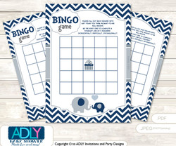 Printable Blue Grey Peanut Bingo Game Printable Card for Baby Boy Shower DIY grey, Blue Grey, Chevron