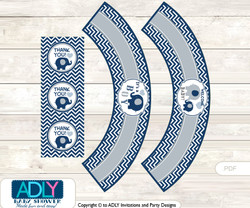 Printable Boy Peanut Cupcake, Muffins Wrappers plus Thank You tags for Baby Shower Blue Grey, Chevron