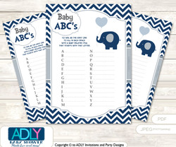Boy Peanut Baby ABC's Game, guess Animals Printable Card for Baby Peanut Shower DIY –Chevron