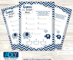 Boy Peanut Dirty Diaper Game or Guess Sweet Mess Game for a Baby Shower Blue Grey, Chevron