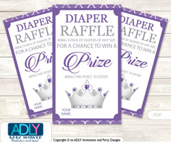 Royal Princess Diaper Raffle Printable Tickets for Baby Shower, Purple, Silver