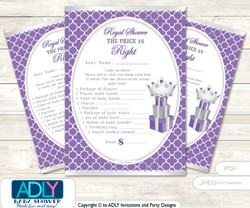 Printable Royal Princess Price is Right Game Card for Baby Princess Shower, Purple, Silver