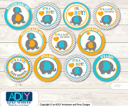 Baby Shower Boy Peanut Cupcake Toppers Printable File for Little Boy and Mommy-to-be, favor tags, circle toppers, Chevron, Teal Orange