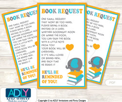 Request a Book Instead of a Card for Boy Peanut Baby Shower or Birthday, Printable Book DIY Tickets, Chevron, Teal Orange
