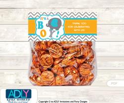 Printable Boy Peanut Treat or Goodie bag Toppers for Baby Boy Shower or Birthday DIY Teal Orange, Chevron