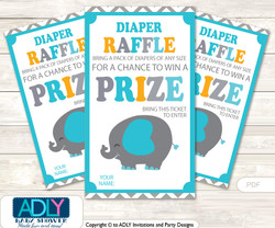 Boy Peanut Diaper Raffle Printable Tickets for Baby Shower, Teal Orange, Chevron