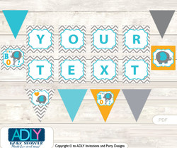 Personalized Boy Peanut Printable Banner for Baby Shower, Teal Orange, Chevron