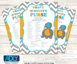 Boy Peanut What is in Mommy's Purse, Baby Shower Purse Game Printable Card , Teal Orange,  Chevron