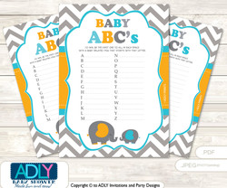 Peanut Baby ABC's Game, guess Animals Printable Card for Baby Peanut Shower DIY –Chevron