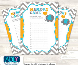 Boy Peanut Memory Game Card for Baby Shower, Printable Guess Card, Teal Orange, Chevron