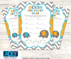 Boy Peanut Dirty Diaper Game or Guess Sweet Mess Game for a Baby Shower Teal Orange, Chevron