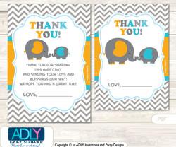 Boy  Peanut Thank you Cards for a Baby Boy Shower or Birthday DIY Teal Orange, Chevron