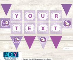 Personalized Purple Lamb Printable Banner for Baby Shower, Sheep, Afro-american