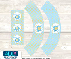 Printable Boy Elephant Cupcake, Muffins Wrappers plus Thank You tags for Baby Shower Baby Blue, Gold
