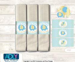 Printable Boy Elephant Napkin Ring Label or Napkin Holders for Baby Shower, Baby Blue, Gold