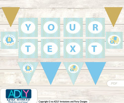 Personalized Boy Elephant Printable Banner for Baby Shower, Baby Blue, Gold