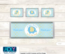 Boy Elephant Chocolate Bar Wrapper and Nuggets Candy Wrapper Label for Baby Boy Shower  Baby Blue , Gold