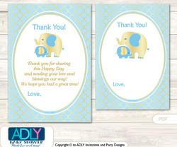 Boy  Elephant Thank you Cards for a Baby Boy Shower or Birthday DIY Baby Blue, Gold