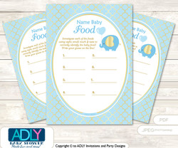 Boy Elephant Guess Baby Food Game or Name That Baby Food Game for a Baby Shower, Baby Blue Gold