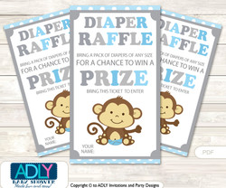 Boy Monkey Diaper Raffle Printable Tickets for Baby Shower, Grey , Chevron