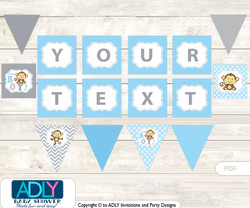 Personalized Boy Monkey Printable Banner for Baby Shower, Grey , Chevron