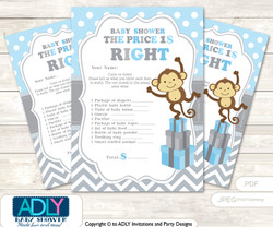 Printable Boy Monkey Price is Right Game Card for Baby Monkey Shower, Grey , Chevron