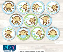 Baby Shower Boy Monkey Cupcake Toppers Printable File for Little Boy and Mommy-to-be, favor tags, circle toppers, Polka, Green