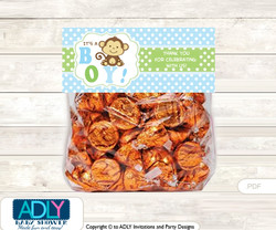 Printable Boy Monkey Treat or Goodie bag Toppers for Baby Boy Shower or Birthday DIY Green, Polka