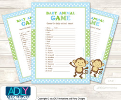 Printable Boy Monkey Baby Animal Game, Guess Names of Baby Animals Printable for Baby Monkey Shower, Green, Polka