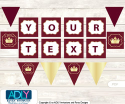 Personalized Burgundy Prince Printable Banner for Baby Shower, Maroon, Royal