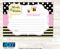 Babee Pink Bumble Bee Words of Wisdom or an Advice Printable Card for Baby Shower, Yellow