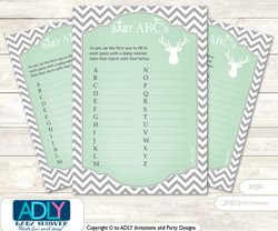 Boy Buck Baby ABC's Game, guess Animals Printable Card for Baby Buck Shower DIY –Chevron