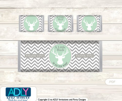 Boy Buck Chocolate Bar Wrapper and Nuggets Candy Wrapper Label for Baby Boy Shower  Mint , Chevron