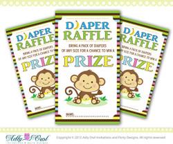 Gender Neutral Monkeys Diaper Raffle Tickets Printables for Baby Boy or Girl Shower DIY,unknown gender  - ONLY digital file - you print