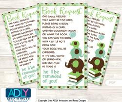 Request a Book Instead of a Card for Boy Peanut Baby Shower or Birthday, Printable Book DIY Tickets, Elephant, Sage Brown
