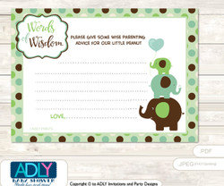 Sage Brown Boy Peanut Words of Wisdom or an Advice Printable Card for Baby Shower, Elephant