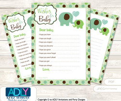 Boy Peanut Wishes for a Baby, Well Wishes for a Little Peanut Printable Card, Elephant, Sage Brown