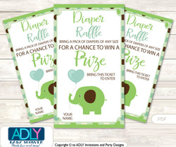 Boy Peanut Diaper Raffle Printable Tickets for Baby Shower, Sage Brown, Elephant