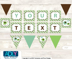 Personalized Boy Peanut Printable Banner for Baby Shower, Sage Brown, Elephant