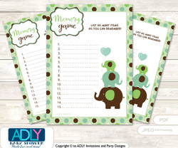 Boy Peanut Memory Game Card for Baby Shower, Printable Guess Card, Sage Brown, Elephant