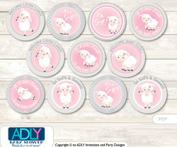 Baby Shower Pink Lamb Cupcake Toppers Printable File for Little Pink and Mommy-to-be, favor tags, circle toppers, Grey, Sheep