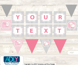 Personalized Pink Lamb Printable Banner for Baby Shower, Sheep, Grey