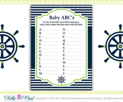 Grass Green Navy ABC's Game Nautical Baby Shower Game Printable for Nautical Boy Party - sailboat  DIY- ONLY digital file - you print SKU41