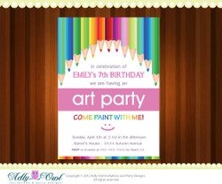 Rainbow Art and Craft Personalized  Birthday Party Invitation Card for boy and girl  - ONLY digital file - you print
